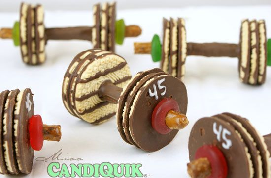 barbells - maybe for an Olympic theme?: Birthday, Barbell Cookies, Edible Crafts, Food, Recipes, Chocolates Barbell, Parties Ideas, Weights Loss, Desserts Tables