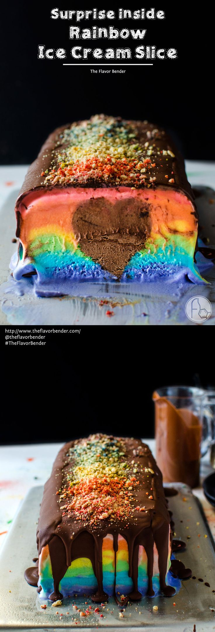 Surprise Inside Rainbow Ice Cream Slice - A deliciously creamy rainbow ice cream slice in bright rainbow colors with a rich, creamy, heart-shaped chocolate mousse center! A fabulous no bake Summer dessert to share with all the people that we love in our lives. SAVE to repin. CLICK to get RECIPE + VIDEO