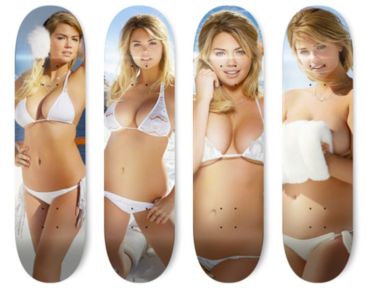 After a five-month hiatus, the creative trio behind Skate Upton worked feverishly this morning as the first images of the 2013 Sports Illustrated Swimsuit Issue became public. After a quick cut & paste and few rounds of Photoshop touch-up later, the artists unveiled its newest Kate Upton skate deck series. Based on the images found within the Swimsuit Issue, each featuring the bodacious super model and this year's cover girl Kate Upton in various poses. So far just rendering...