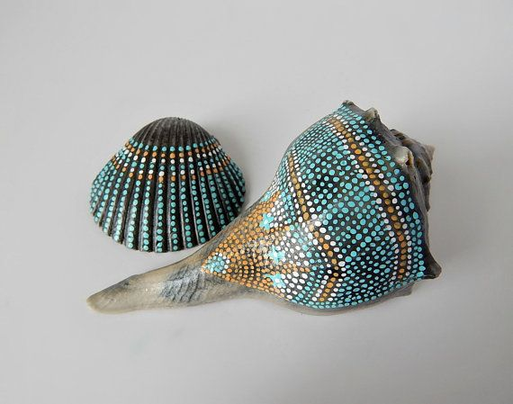 Painted Seashells Natural Beach Cottage Nautical Home Decor Found Nature Hand Painted Sea Shell Art Bohemian Zen Home Decorative Display My original artwork on seashells found along the Louisiana shoreline of the Gulf of Mexico ~  A pair of gray-toned natural seashells (conch and scalloped cockle), hand-painted by me then coated with a clear matte protective finish.  Conch seashell measures 4.25 inches long x 2 inches wide. Scalloped cockle seashell measures 2 inches long x 2 inches wide…