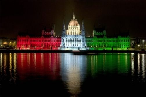 15 March illumination of the Hungarian Parliament