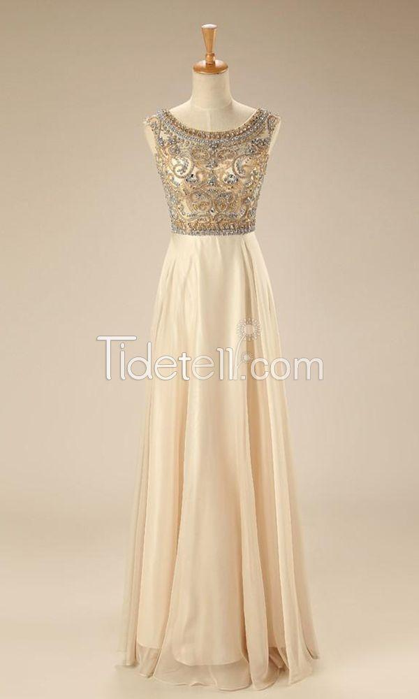Hot Sale prom dresses, A-line prom dresses, Chiffon prom dresses, Jewel prom dresses, Long prom dresses, Backless prom dresses, prom dresses with crystals, Beaded prom dresses