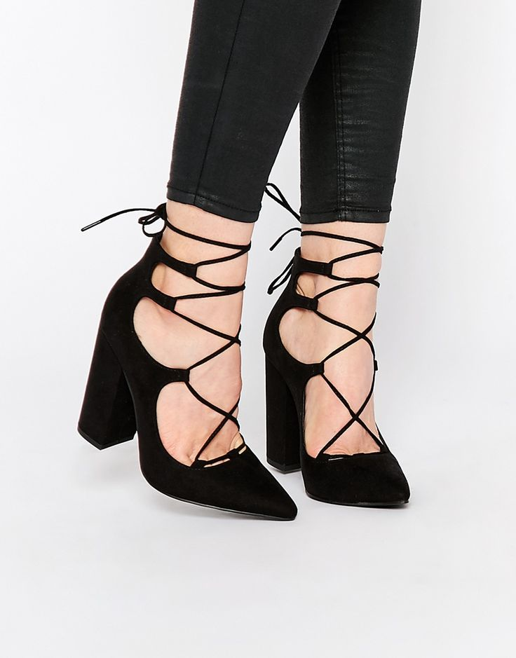 Image 1 ofNew Look Suedette Lace Up Block Heel