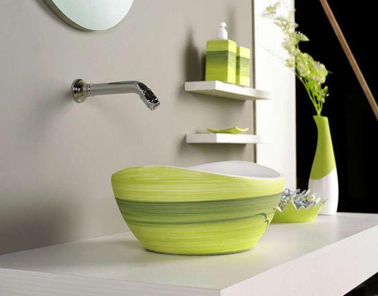 Arredare un bagno piccolo - Lavabo verde per piccolo bagno