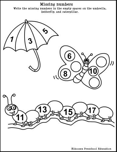 Free Spring-theme Math Worksheet for #children!  Write the missing numbers in the empty spaces on the umbrella, butterfly and caterpillar.