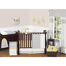 Sweet Jojo Designs Zig Zag Yellow and Gray Collection - 11 Piece Baby Crib Bedding Set, Babies R Us