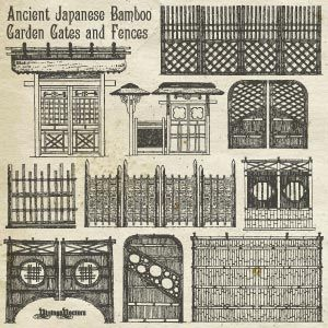 Vector Art Of Ancient Japanese Bamboo Garden Gates And Fences Part 76