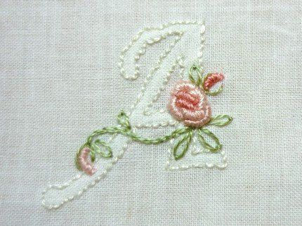 Monogram AddOn Floral Hand Embroidered por CommonThreadCottage