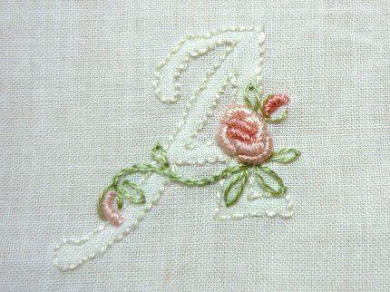Monogram AddOn Floral Hand Embroidered por CommonThreadCottage
