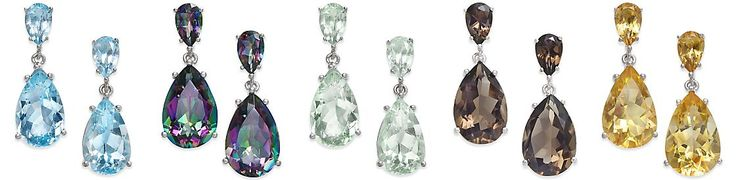 Semi Precious Gemstone Teardrop Drop Earrings (7 ct. t.w.) in Sterling Silver (available in Smoky Topaz, Green Amethyst, Citrine, Blue Topaz and Mystic Topaz)