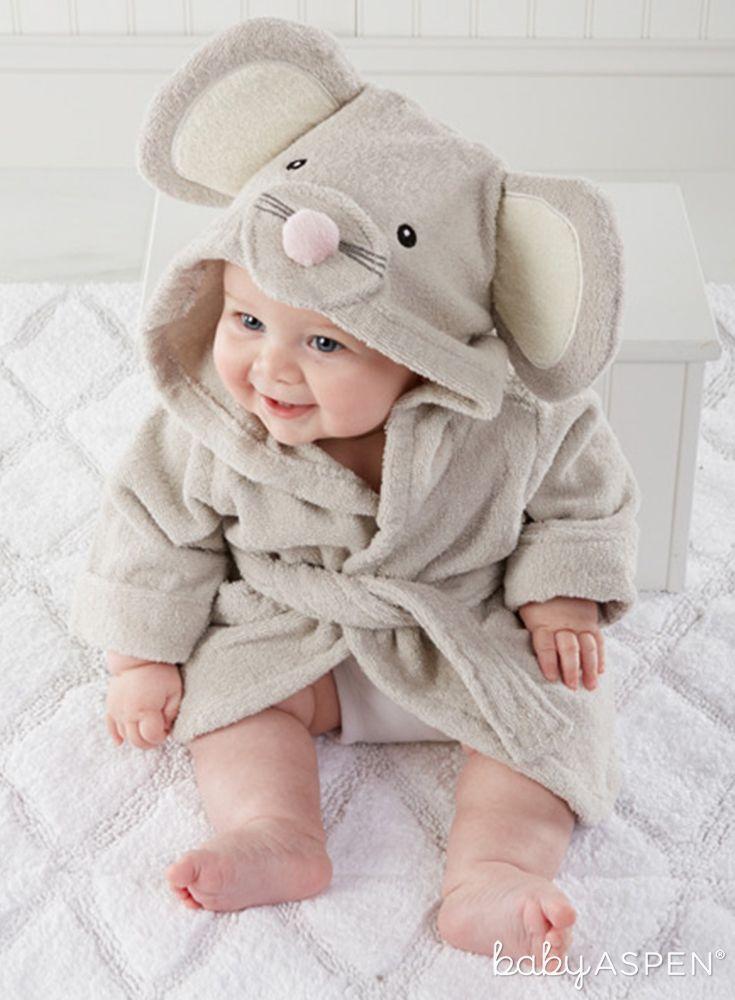 We Promise You The New Mom And Dad Will Want This Silly Squeaky Mouse In Their House Squeaky Clean Mouse Hooded Baby Bath Robe Baby Bath Towel Baby Robes