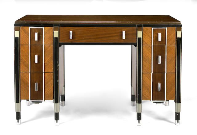 An American Art Deco mixed wood, black lacquer and chrome desk and chair