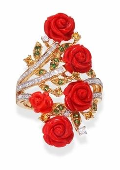 Carved Coral Rose Ring in 18k Gold