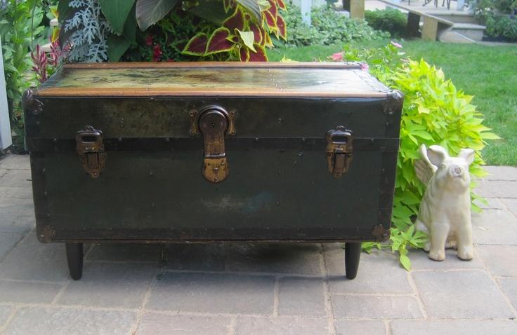 Industrial Metal Steamer Trunk Repurposed Into Coffee Table Porta