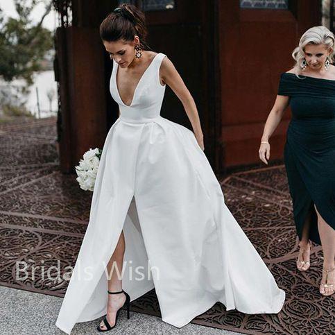 Gorgeous wedding dresses, v-neck wedding dresses, side slit wedding dresses, long wedding dresses, BW0008