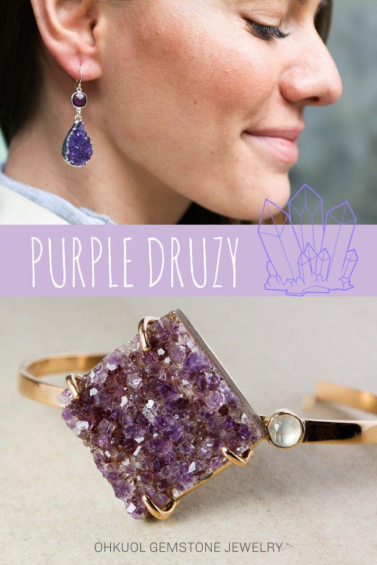 purple druzy jewelry - gemstones - crystals - geode jewelry - custom - handmade - conflict free stones - ohkuol gemstone jewelry