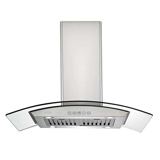 Zuhne Ichorus 36 Inch Kitchen Island Ducted Ductless Stainless Steel Tempered Glass Range Hood Or Stove Vent With Chim Glass Range Hood Range Hood Stove Vent