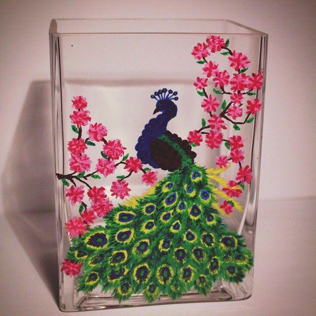 ваза (стекло), роспись (акриловые краски для стекла и керамики, укрывистые) #vase #painting #glasspainting #glass #bird #peacock #flowers #handmade #interior #ваза #роспись #павлин #цветы #птица #хендмейд #интерьер #декор