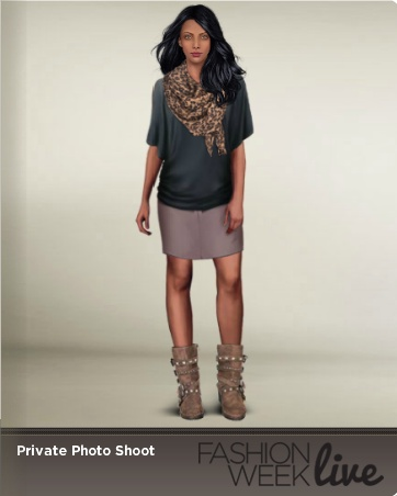 Today's Favorite Snapshot model is wearing:  -- Thistle classic straight skirt  -- Charcoal scoop neck draped blouse  -- Strappy suede boots