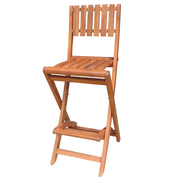 Solid acacia wood outdoor folding bar stool with patterned back