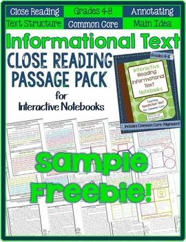 105 best informational textnon fiction images on pinterest informational text close reading freebie for interactive notebooks ccuart Gallery