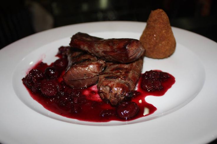 Grilled Wild Boar Fillet with Sour Cherry Sauce, Pancetta and Chestnut Croquet