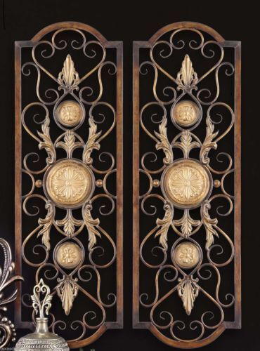 Set-2-Scroll-Wall-Decor-Wrought-Iron-Metal-Grille-Panel-Tuscan-Art-Plaque-Grill