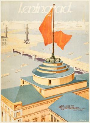 Reprint of a 1933 Soviet poster by B Zelensky, State Travel Co. Intourist, at www.AntikBar.co.uk. (Leningrad)