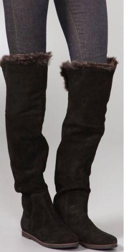 76471c8e0fd SAM-EDELMAN-ORLANDO-BLACK-SUEDE-FAUX-FUR-CUFF-OVER-THE-KNEE-FLAT-BOOTS-6-6-5