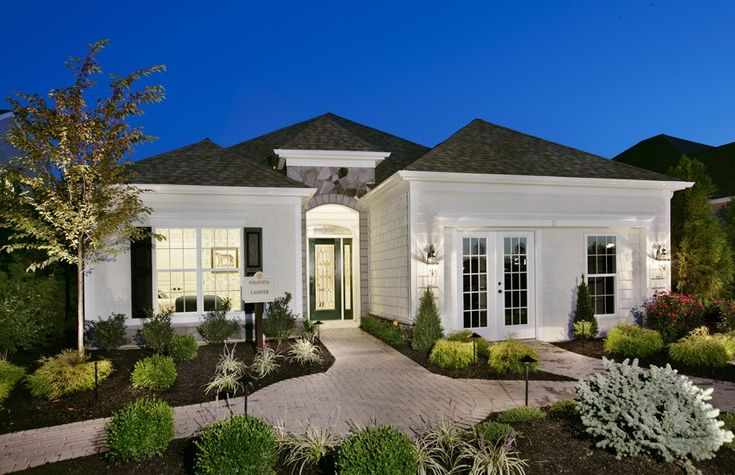 Luxury single story home exteriors equestra howell twp One level luxury house plans