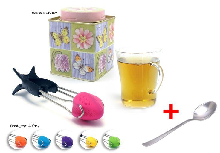 Wiosenna puszka na herbatę; Szklanka żaroodporna; Zaparzaczka do herbaty Teafu !; Łyżeczka do herbaty Luisa Gratis !