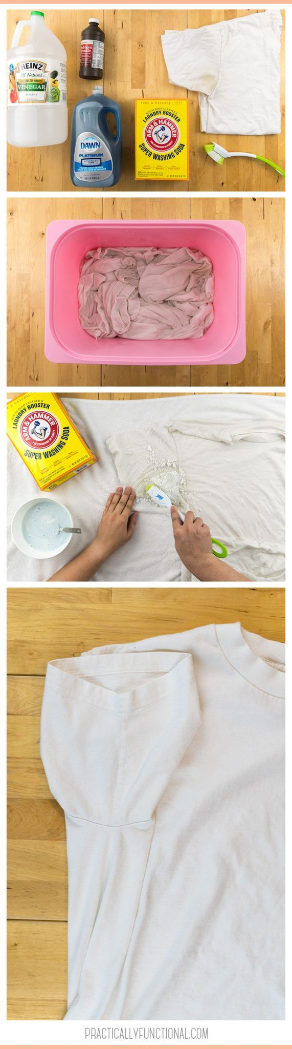 Have you ever wondered how to remove yellow sweat stains from your shirts? Here is a quick and easy way to get rid of those ugly stains plus a genius tip on how to keep them away for good! #laundry #laundrytips #cleaningtips #cleaninghack