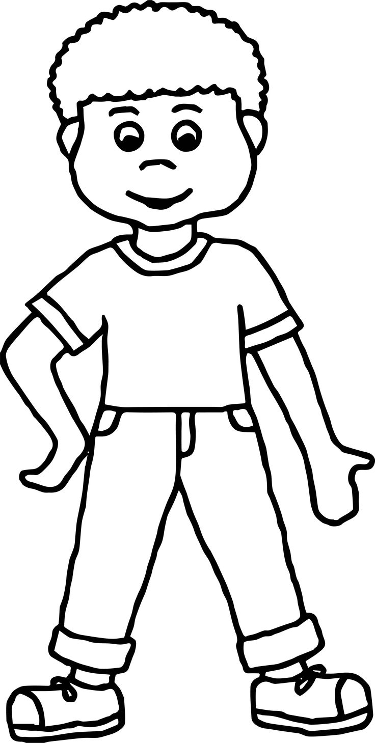 cool Boy Front View Coloring Page | Coloring pages for ...