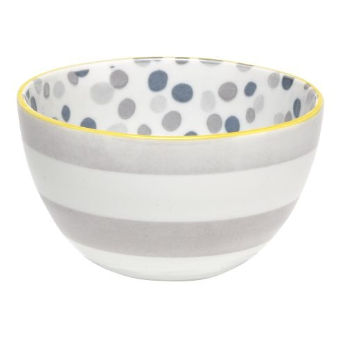 Small Dots + Stripes Bowl- gray, white, blue, yellow.  Perfect size for ice cream, sprinkles or storing pretty rings!