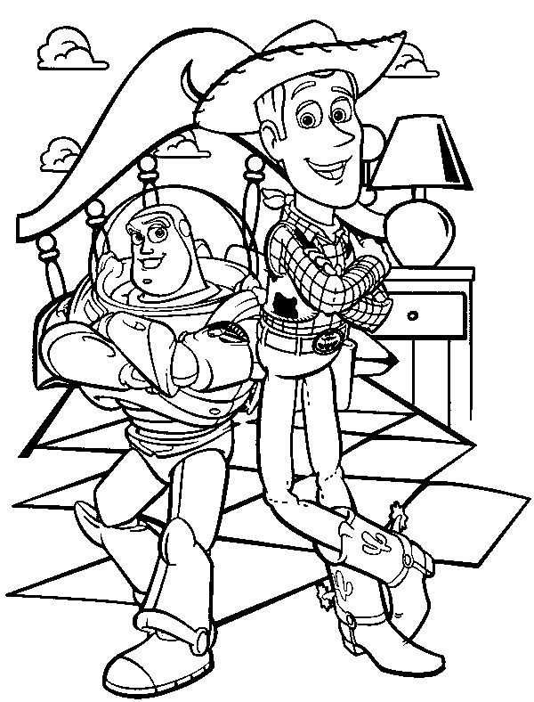 Buzz Lightyear And Sheriff Woody Toy story Coloring