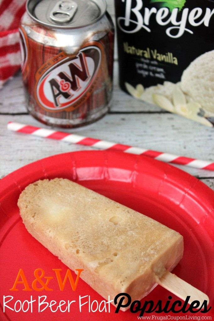 Easy to make Root Beer Popsicles made with REAL A&W root beer and Breyers Ice Cream - just like a Root Beer Float! Great summer snack idea for the kids! Recipe on Frugal Coupon Living.