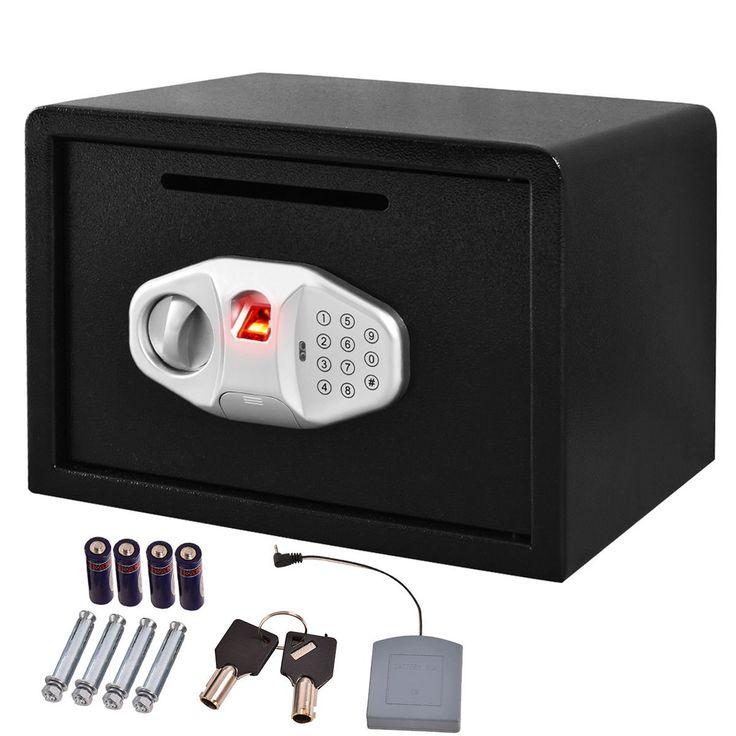 "Safstar Biometric Fingerprint Digital Electronic Keypad Lock Security Safe Box W/ Front Slot for Money Gun Jewelry 9.8"" x 13.7"" x 9.8"""
