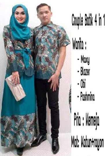 Couple Batik Tosca 4 in 1, Maxy + Blazer + Obi + Pashmina + Kemeja Pria, Bahan Katun + Rayon     Fit L     Harga : Rp. 245.000,-/pasang     Kode Produk / Product Code : CL2316
