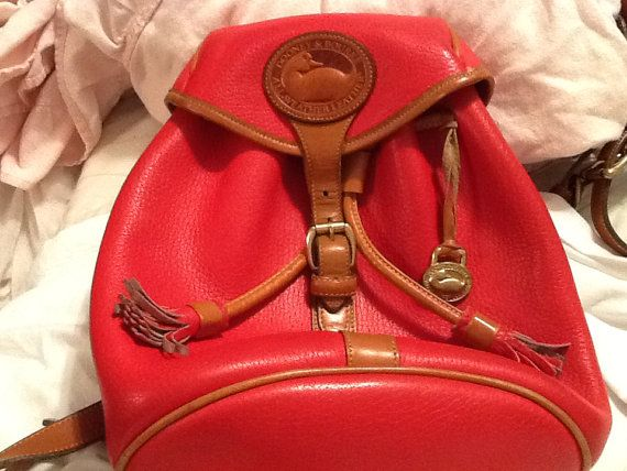 Vintage DOONEY And BOURKE Red Purse Dooney and Bourke Backpack Leather Backpack Red Backpack