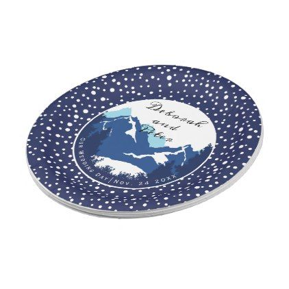 Blue white mountains and conifer trees wedding paper plate - winter wedding diy marriage customize personalize couple idea individuel