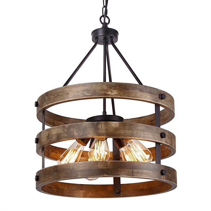 Anmytek Metal And Circular Wood Chandelier Pendant Five Lights Oil