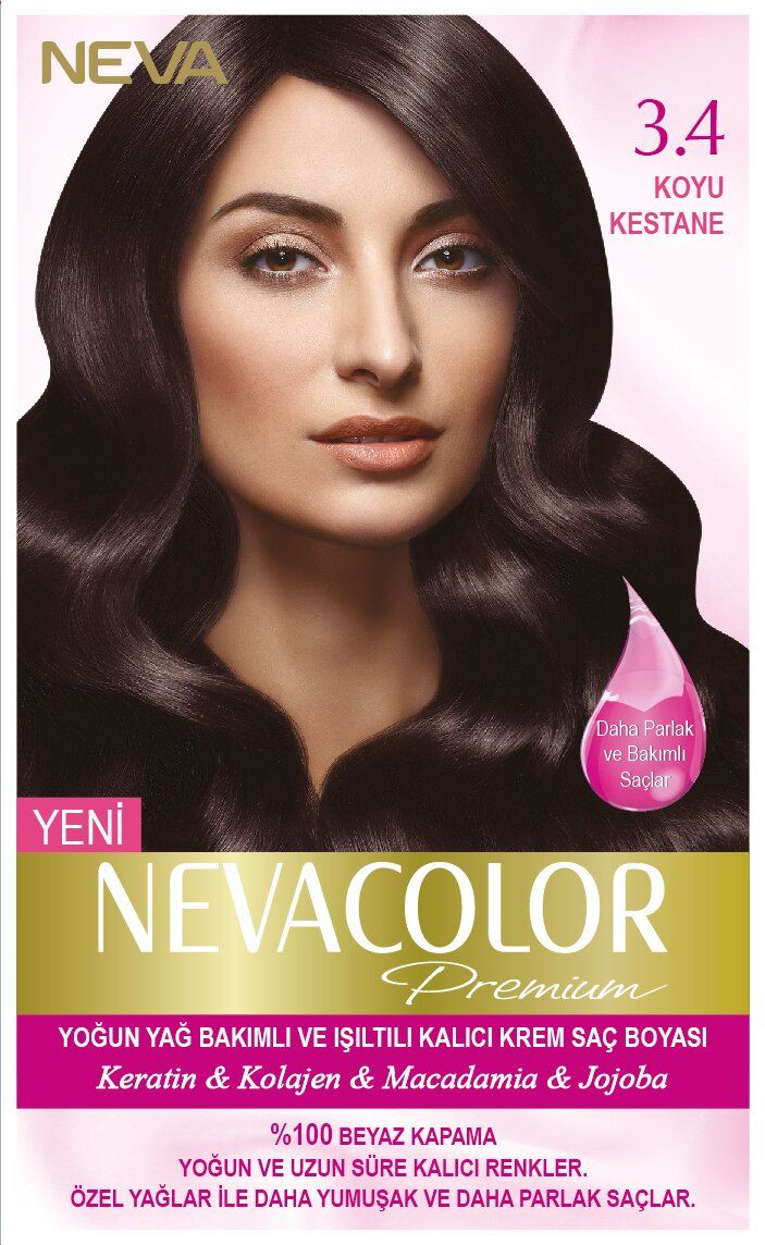 Neva Color Premium Sac Boyasi 3 4 Koyu Kestane Kolajen Nevada