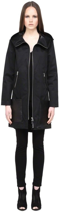 $254, Black Trenchcoat: Mackage Divya Black Trench Coat With Hood. Sold by Mackage. Click for more info: https://lookastic.com/women/shop_items/307173/redirect