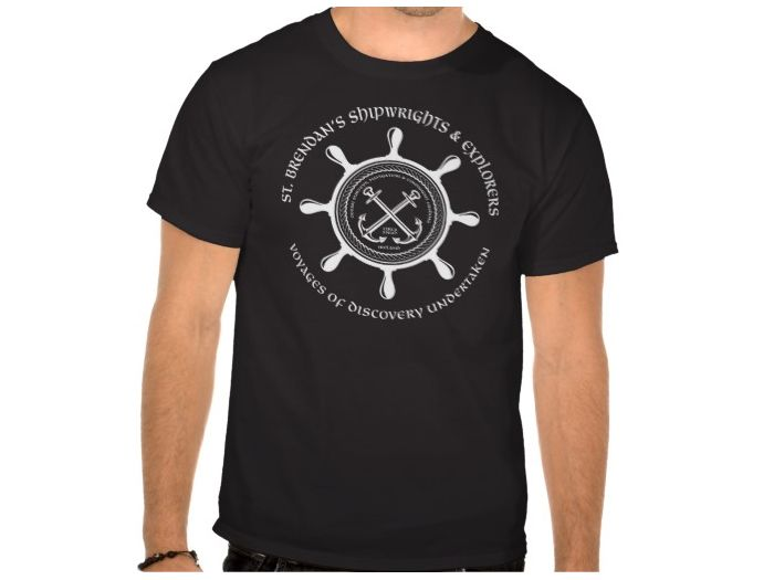 Saint Brendan's Shipwrights, Style is Basic T-Shirt, color is Black