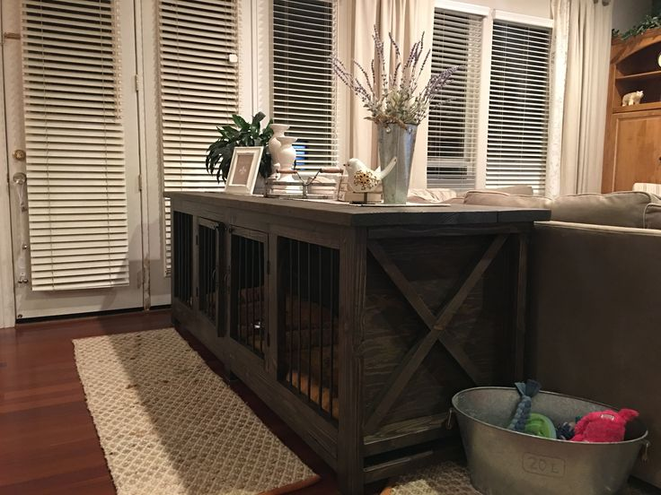 Farmhouse Dog crate/Sofa table. Don't like metal dog crates?? Build one instead!!