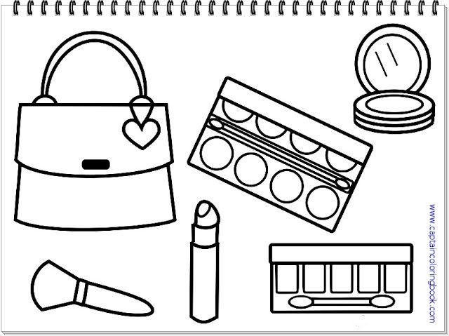 Lady Accessories Coloring Page Coloring Page Coloring Pages Printable Coloring Makeup Printables