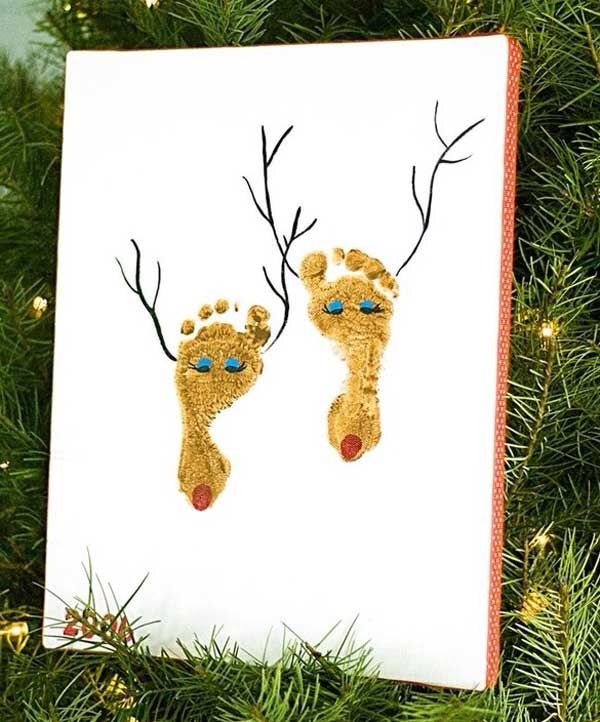 Fun Kids Foot Print Reindeer Art!