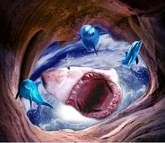 Hoek Toilet Badkamer ~ Goedkope Aanpassen zee floor muurschildering shark badkamer woonkamer