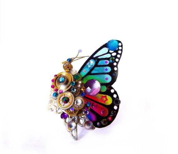 Steampunk ring, butterfly ring, rainbow ring, unique steampunk, filigree ring, cocktail boho ring, OOAK, magic ring, watch gear ring, art