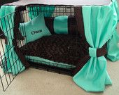 Dog Crate Cover Ensemble in Mint & Chocolate (5 Pieces) and Free Custom Embroidery